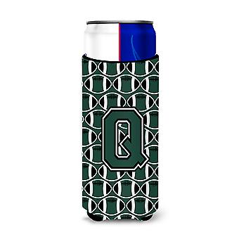 Letter Q Football Green and White Ultra Beverage Insulators for slim cans