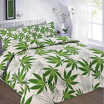 Cannabis Weed leaf Duvet Quilt Cover Polycotton Printed Bedding Set