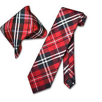 Vesuvio Napoli în carouri cravată & batistă potrivire cravată set
