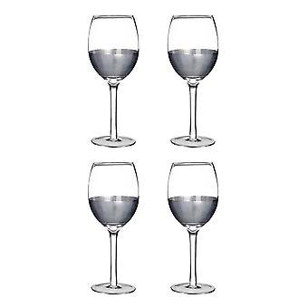 Premier Housewares Apollo Set of 4 Small 300ml Wine Glasses, Silver