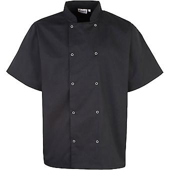 Premier Mens Studded Front Short Sleeve Polycotton Chef Jacket