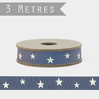 East of India WHITE STARS Grosgrain Ribbon Blue Grey 3m Craft