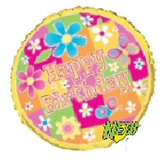 Folie ballon HAPPY BIRTHDAY bloemen en vlinder