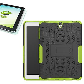 Hybrid outdoor bag Green for Samsung Galaxy tab S3 9.7 T820 T825 2017 + 0.4 tempered glass
