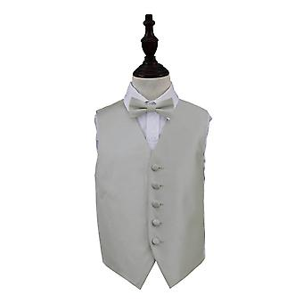 Silver Solid Check Wedding Waistcoat & Bow Tie Set for Boys