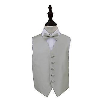 Zilveren solide Check bruiloft gilet & strikje Set voor jongens