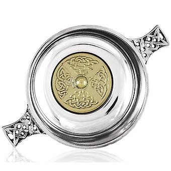 Celtic Pewter Quaich with Celtic Knot Work Segmented Brass Disc - 3.5