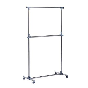 Homcom Heavy Duty Clothes Hanger Garment Rail Hanging Display Stand Rack w/ Wheels Adjustable