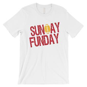 الأحد FUNDAY تي شيرت كانساس مضحك رجالي اليوم لعبة المحملة القميص الأبيض