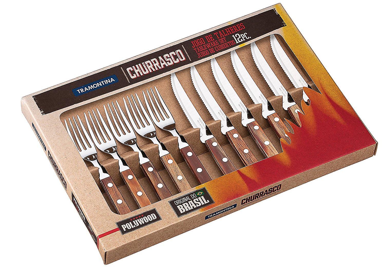 Tramontina Churrasco 12 Piece Steak Knife & Fork Cutlery Set Brazilian Wood