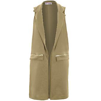 Naisten hihaton rento vetoketjullinen yksityiskohtia räätälöity smokki pitkä liivi Duster takki