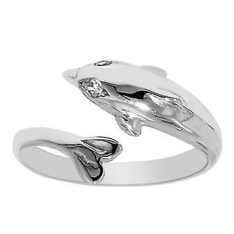 Sterling Silber Delfin durch Pass Stil verstellbaren Zehenring