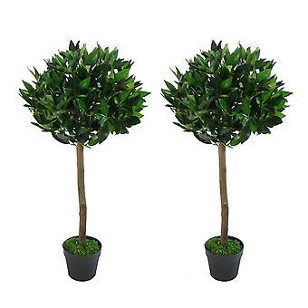 Pair of 90cm (3ft) Plain Stem Artificial Topiary Bay Laurel Ball Trees