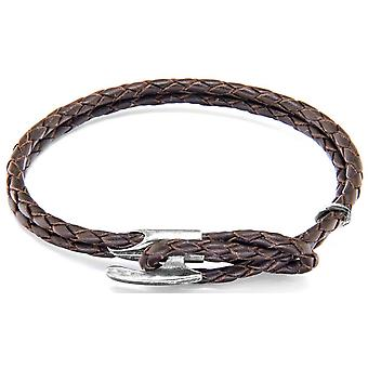 Anchor and Crew Padstow Silver and Leather Bracelet - Dark Brown