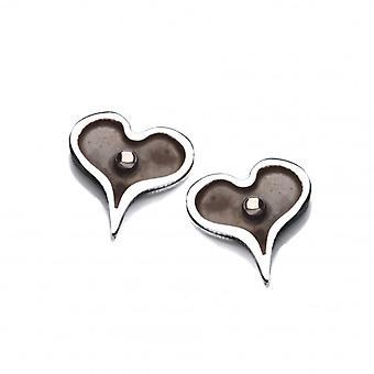 Cavendish French Tiny Dark Heart Silver Earrings