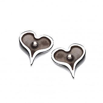 Cavendish französische winzige dunkles Herz Silber Ohrringe