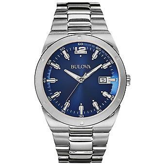 Bulova Mens Classic Blue Dial Stainless Steel Bracelet Date 96B220 Watch