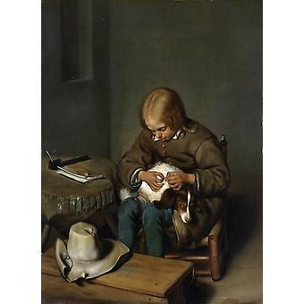 Boy Catching Fleas sur son chien, Gerard Ter Borch, 50x40cm