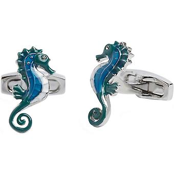 Simon Carter Under the Sea Seahorse Cufflinks - Blue