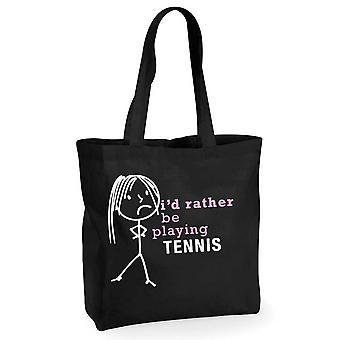 Damene jeg ville heller spille Tennis svart bomull Shopping Bag