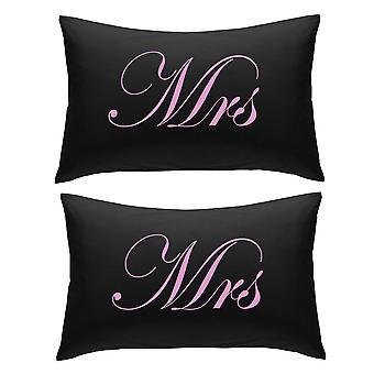 Black with Pink Mrs and Mrs Pillowcases