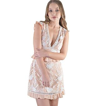 Lovemystyle Lace A-Line Tea Dress In Peach