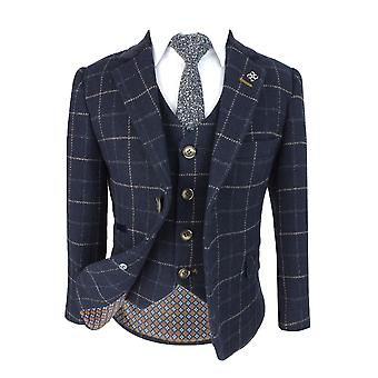 Cavani Mens & Boys Navy Blue Wool Blend Check Tweed Shelby Suit