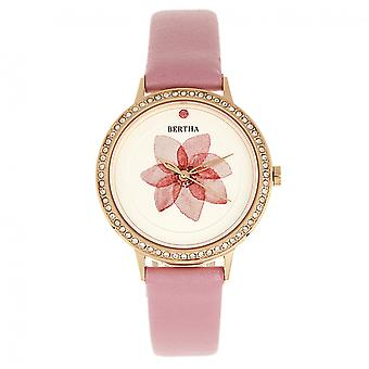 Bertha Delilah Leather-Band Watch - Rose Gold/Light Pink