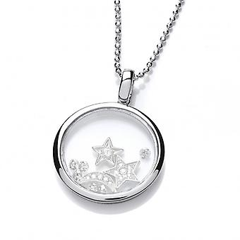Cavendish französischen Celestial Silver und CZ Himmel und Nacht Anhänger mit Silber Kette