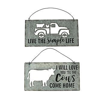 Cutout Tin Cow and Truck Farmhouse Decor 2 Piece Wall Hanging Set