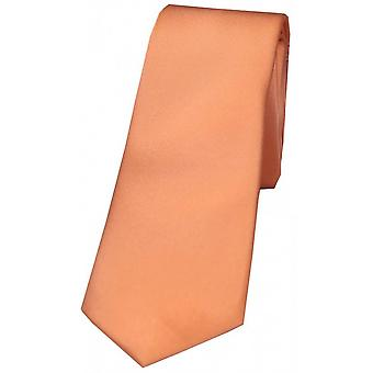 David Van Hagen plaine mince cravate Satin - Peach