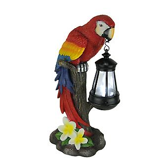 Red Tropical Parrot LED Solar Powered Odkryty Latarnia Statua