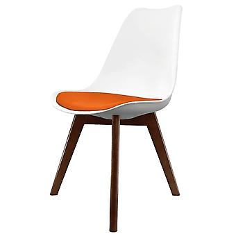 Fusion Living Eiffel Inspiré Blanc et Orange Dining Chair with Squared Dark Wood Legs