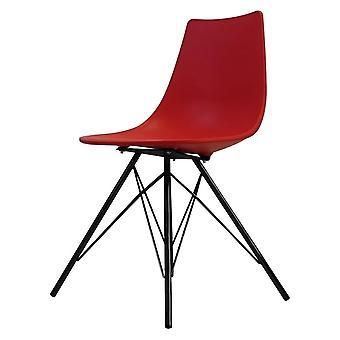 Cadeira de jantar plástica vermelha icónica de vida da fusão com pés pretos do metal