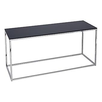 Gillmore Black Glass And Silver Metal Contemporary TV Stand