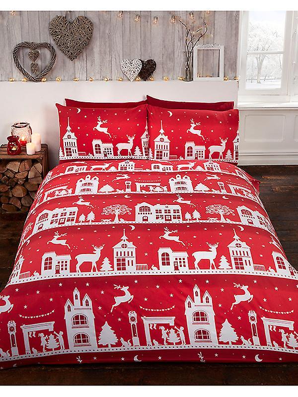 Reindeer Road Brushed Cotton Christmas Duvet Cover Set