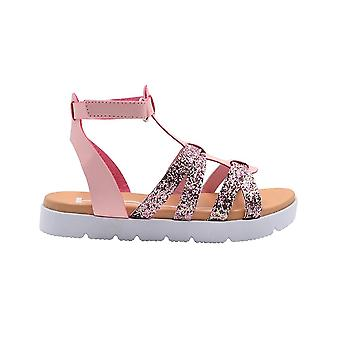 bebe Girls Fashion Sandals Little Kid Gladiator Summer Flats with Glitter Upper