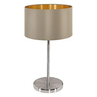 Eglo - Maserlo 1 Leuchttisch Lampe Satin Nickel Taupe EG31629