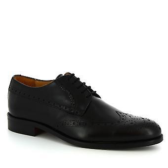 Leonardo Shoes Men's handmade brogue lace-ups shoes in black calf leather