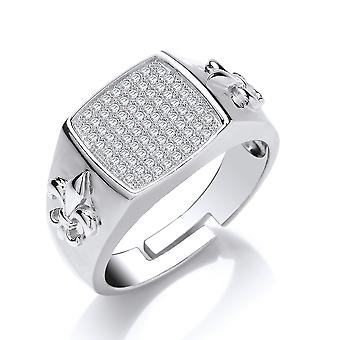 Jewelco London Mens Rhodium Plated Silver white Round Brilliant Cubic Zirconia Fleur De Lis Square Cushion Signet Ring