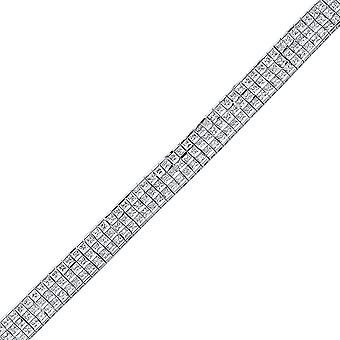 Jewelco London Rhodium Plated Sterling Silver Princess Cut 3 Row Eternity Tennis Bracelet