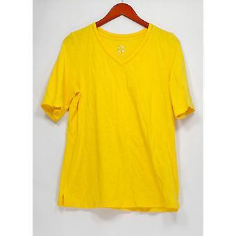 C. Wonder Top V-Neck Short Sleeved w/ Side Slits Yellow A289694