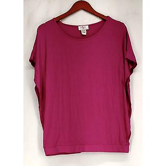 OSO Casuals Top Short Sleeve Poncho Style Elastic Waist Pink Womens A422625