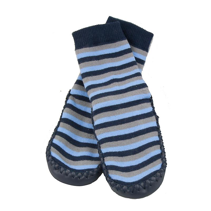 SKEANIE Leather and Cotton Moccasin Baby Socks Blue/Grey Stripes