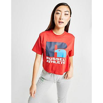 New Russell Athletic Women's Eagle Logo Crop T-Shirt Red