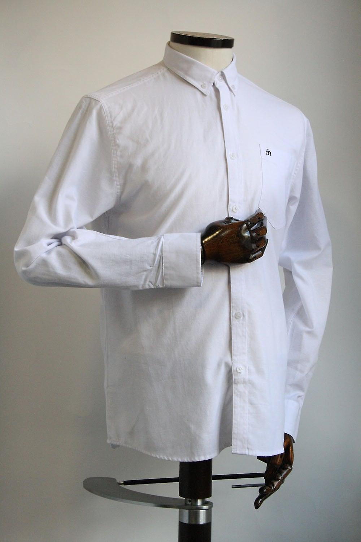 Merc London Oval White Cotton Blend Oxford Shirt