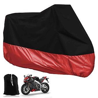 XXL Motorcycle Foldable Waterproof Tarpaulin Cover For Garage Outdoors - Red & Black With Pocket 265 X 105 X 125cm