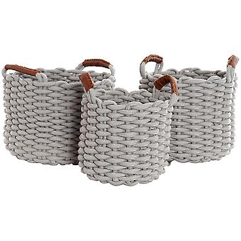 Wellindal Set de 3 cestas de algodón (Decoration , Boxes and baskets , Baskets)