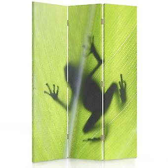 Tilanjakaja, 3 paneelia, kaksipuolinen, kangas, vihreä sammakko lehtiä