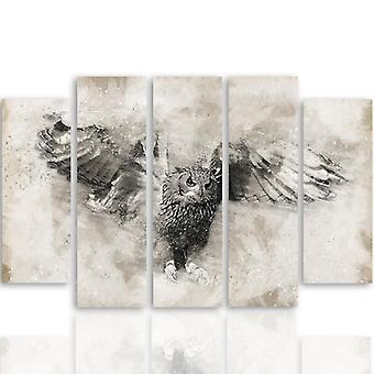 Retrato de cinco partes na lona, Pentaptych, tipo B, coruja no vôo 1
